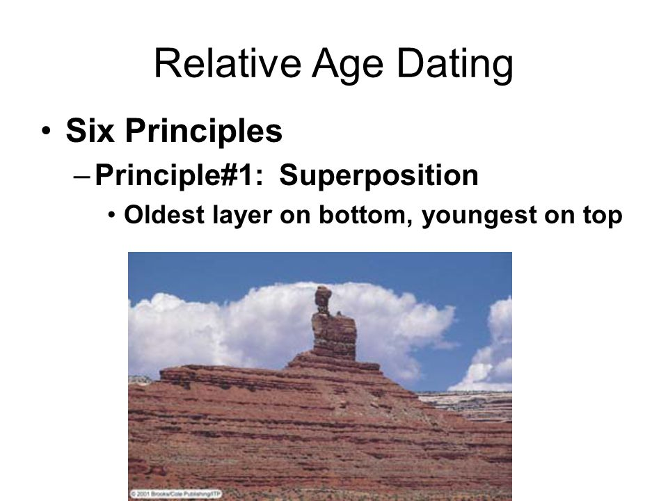 Relative Age Dating Six Principles –Principle#1: Superposition Oldest layer on bottom, youngest on top