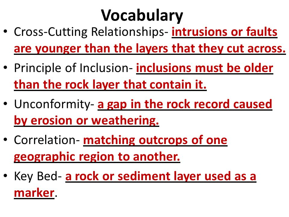 Vocabulary Cross-Cutting Relationships- intrusions or faults are younger than the layers that they cut across. Principle of Inclusion- inclusions must