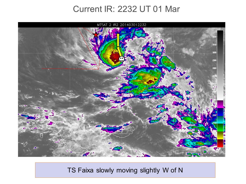 Current IR: 2232 UT 01 Mar TS Faixa slowly moving slightly W of N