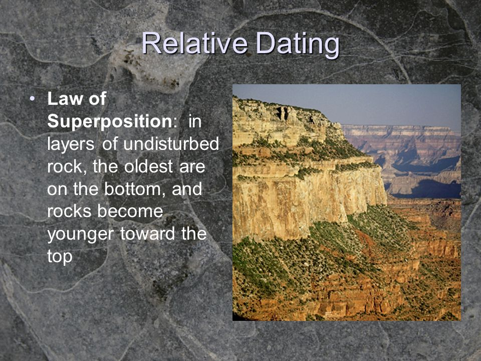 Relative Dating Law of Superposition: in layers of undisturbed rock, the oldest are on the bottom, and rocks become younger toward the top