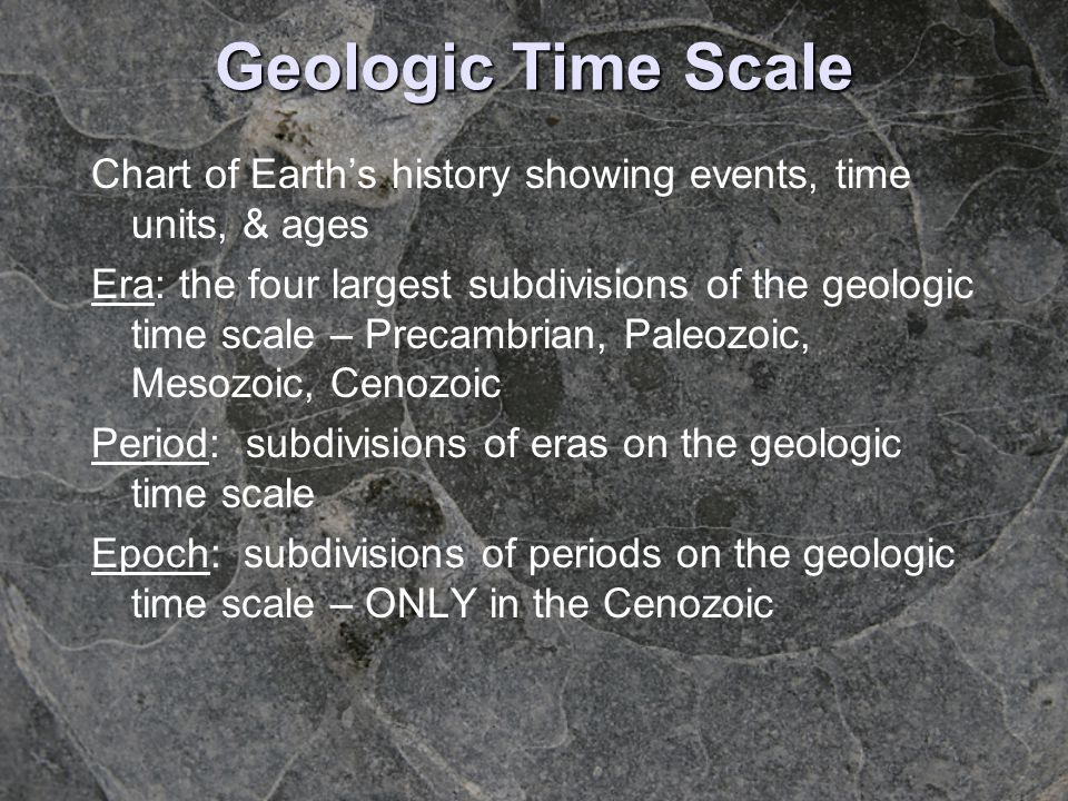Chart of Earths history showing events, time units, & ages Era: the four largest subdivisions of the geologic time scale – Precambrian, Paleozoic, Mes