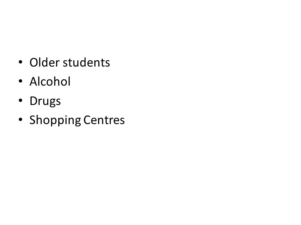 Older students Alcohol Drugs Shopping Centres