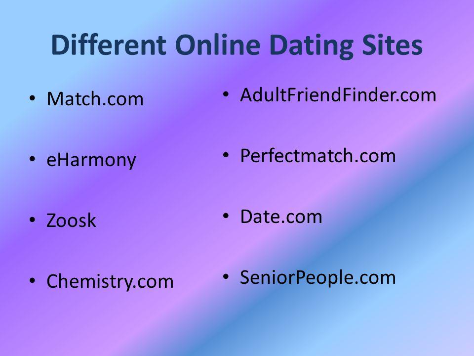 Different Online Dating Sites Match.com eHarmony Zoosk Chemistry.com AdultFriendFinder.com Perfectmatch.com Date.com SeniorPeople.com