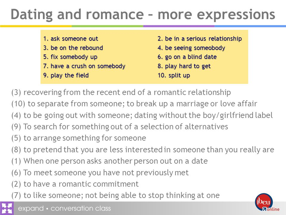Dating and romance – more expressions 1.ask someone out2.