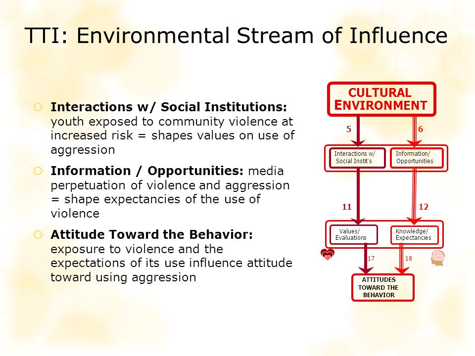 ATTITUDES TOWARD THE BEHAVIOR CULTURAL E NVIRONMENT Values/ Evaluations Knowledge/ Expectancies Information/ Opportunities Interactions w/ Social Instits 1112 1718 56 TTI: Environmental Stream of Influence Interactions w/ Social Institutions: youth exposed to community violence at increased risk = shapes values on use of aggression Information / Opportunities: media perpetuation of violence and aggression = shape expectancies of the use of violence Attitude Toward the Behavior: exposure to violence and the expectations of its use influence attitude toward using aggression