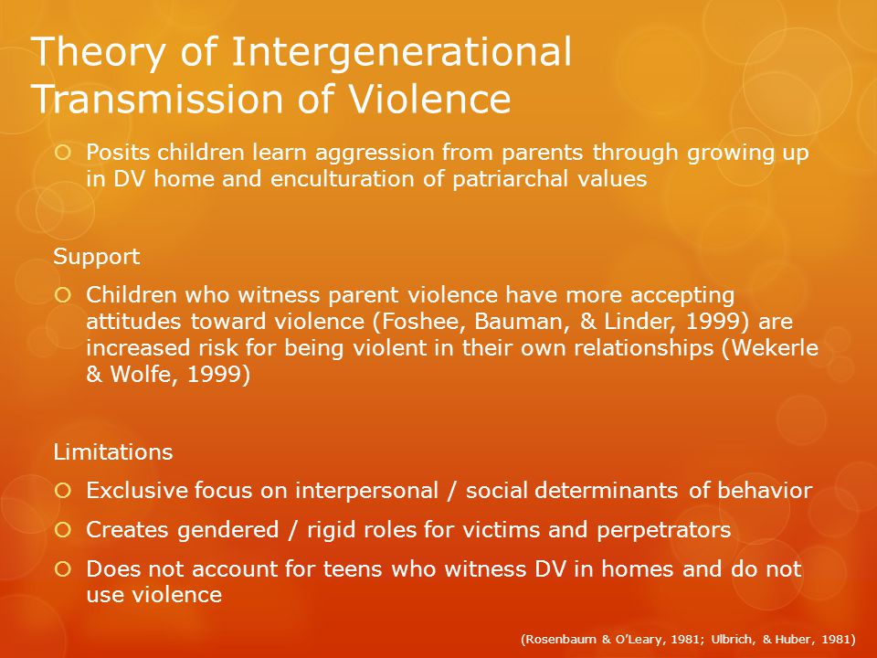 Theory of Intergenerational Transmission of Violence Posits children learn aggression from parents through growing up in DV home and enculturation of patriarchal values Support Children who witness parent violence have more accepting attitudes toward violence (Foshee, Bauman, & Linder, 1999) are increased risk for being violent in their own relationships (Wekerle & Wolfe, 1999) Limitations Exclusive focus on interpersonal / social determinants of behavior Creates gendered / rigid roles for victims and perpetrators Does not account for teens who witness DV in homes and do not use violence (Rosenbaum & OLeary, 1981; Ulbrich, & Huber, 1981)
