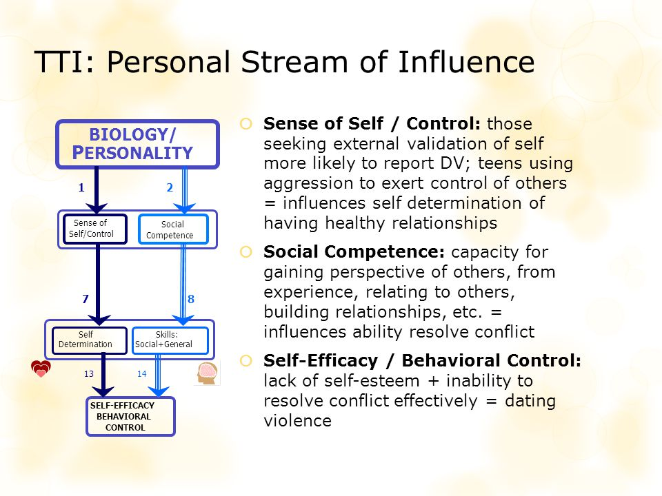 TTI: Personal Stream of Influence Sense of Self / Control: those seeking external validation of self more likely to report DV; teens using aggression to exert control of others = influences self determination of having healthy relationships Social Competence: capacity for gaining perspective of others, from experience, relating to others, building relationships, etc.