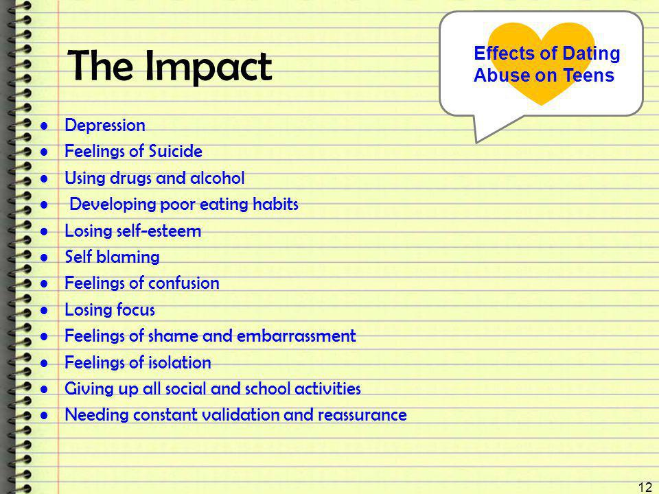 The Impact Depression Feelings of Suicide Using drugs and alcohol Developing poor eating habits Losing self-esteem Self blaming Feelings of confusion