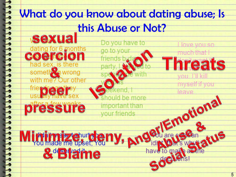What do you know about dating abuse; Is this Abuse or Not? 5 We have been dating for 6 months and we haven't had sex, is there something wrong with me