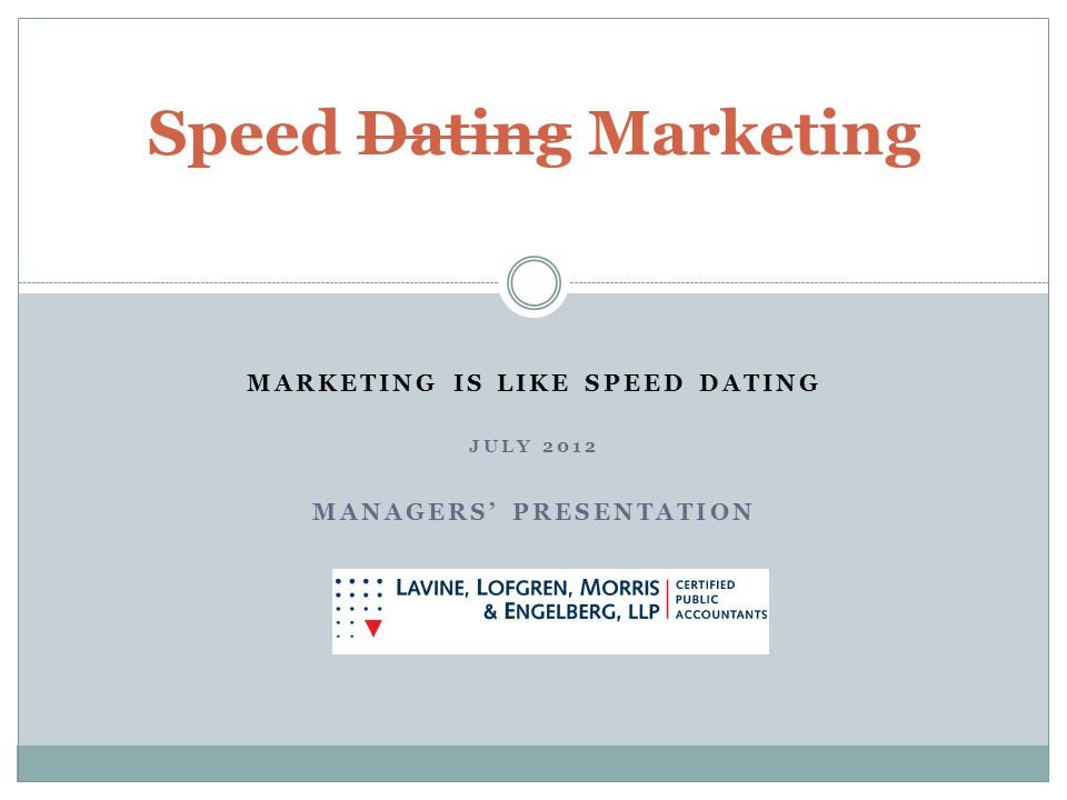 MARKETING IS LIKE SPEED DATING JULY 2012 MANAGERS PRESENTATION Speed Dating Marketing