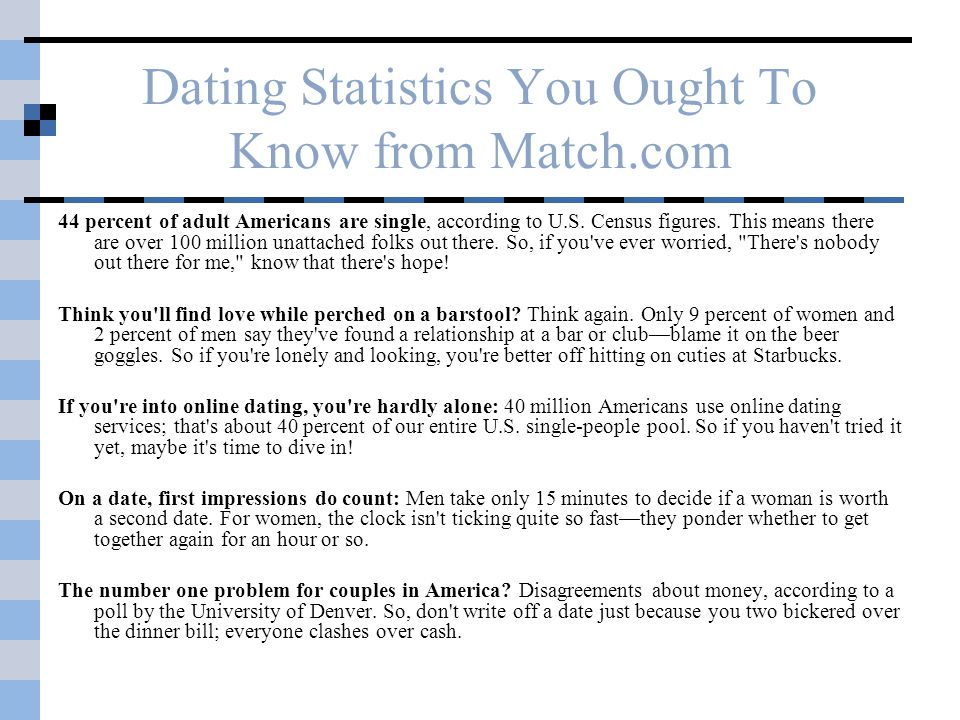 Dating Statistics You Ought To Know from Match.com 44 percent of adult Americans are single, according to U.S.