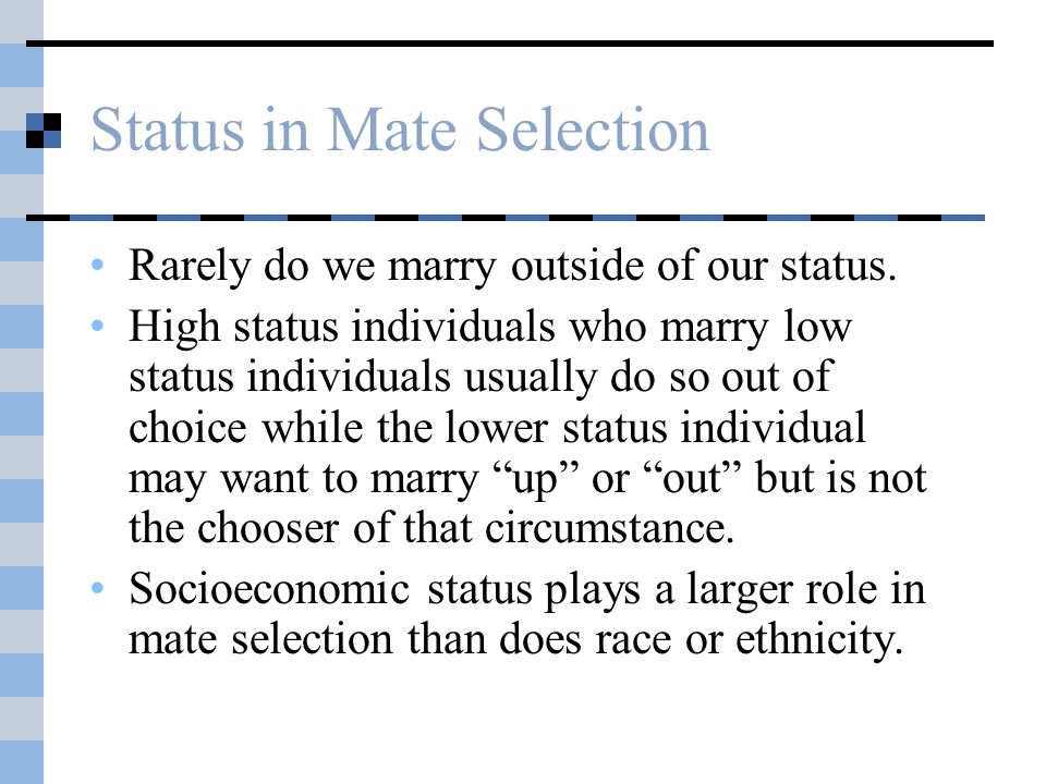 Status in Mate Selection Rarely do we marry outside of our status.