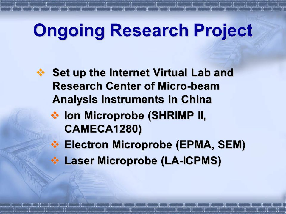 SHRIMP Remote Analysis Sequence Log in Submit samples Zircon mounting Microscope and CL photos Instrument calibration Sample loading Mark the points for analysis Download SROS Software Online training of using SROS Machine time reservation Online simulation testing Remote Observation ANALYSIS Remote Control Lab Assistant Remote Observation Data Processing Observation Data Processing Data Processing Observation