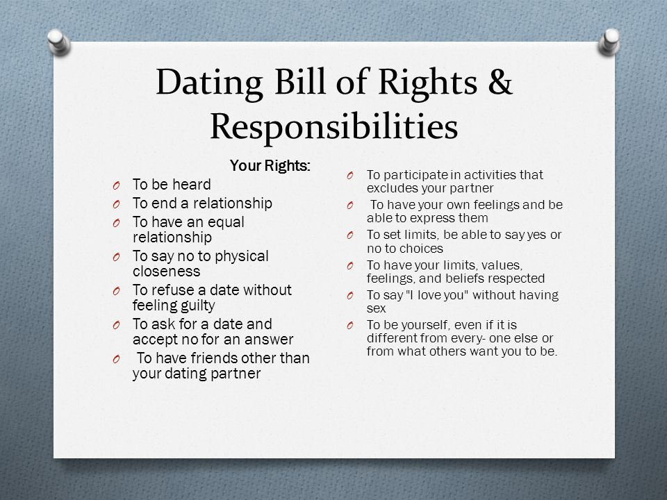 Dating Bill of Rights & Responsibilities Your Rights: O To be heard O To end a relationship O To have an equal relationship O To say no to physical closeness O To refuse a date without feeling guilty O To ask for a date and accept no for an answer O To have friends other than your dating partner O To participate in activities that excludes your partner O To have your own feelings and be able to express them O To set limits, be able to say yes or no to choices O To have your limits, values, feelings, and beliefs respected O To say I love you without having sex O To be yourself, even if it is different from every- one else or from what others want you to be.