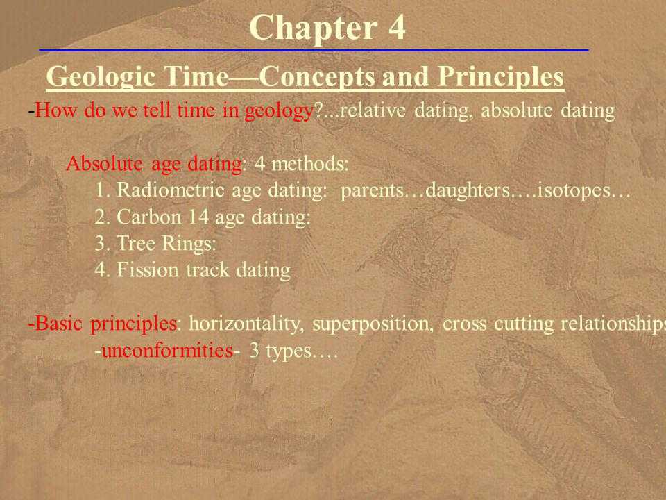 Geologic TimeConcepts and Principles Chapter 4 -How do we tell time in geology?...relative dating, absolute dating Absolute age dating: 4 methods: 1.