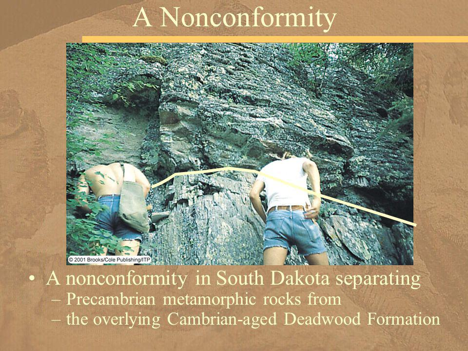 A nonconformity in South Dakota separating –Precambrian metamorphic rocks from –the overlying Cambrian-aged Deadwood Formation A Nonconformity