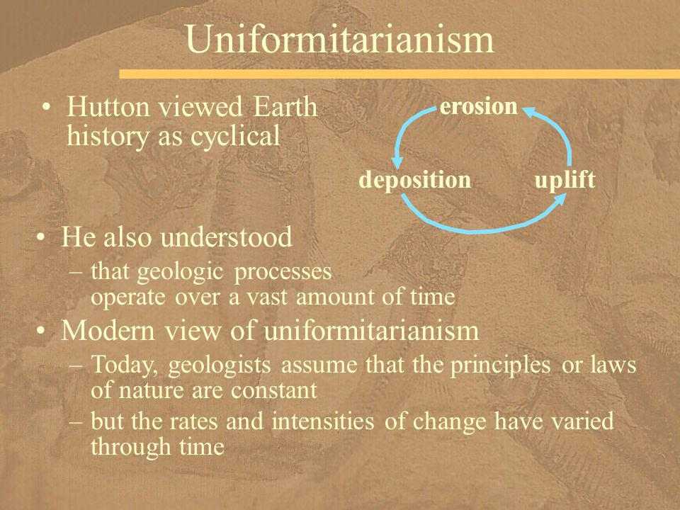 Hutton viewed Earth history as cyclical Uniformitarianism erosion depositionuplift He also understood –that geologic processes operate over a vast amo