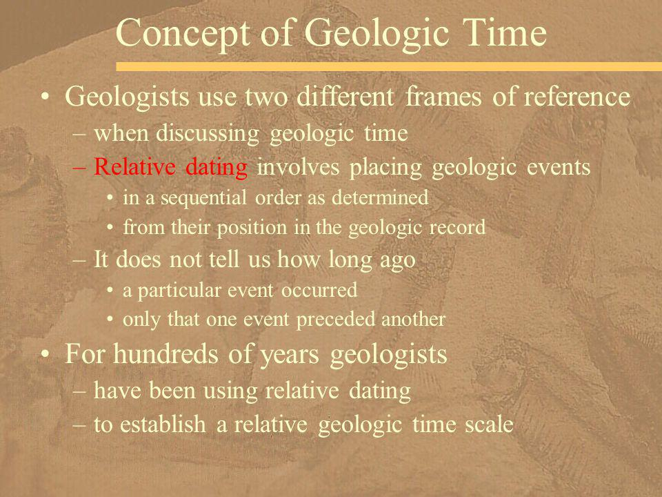 Geologists use two different frames of reference –when discussing geologic time –Relative dating involves placing geologic events in a sequential orde