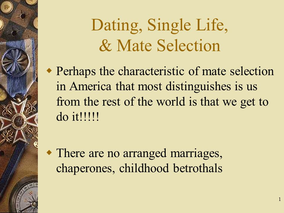 1 Dating, Single Life, & Mate Selection Perhaps the characteristic of mate selection in America that most distinguishes is us from the rest of the wor