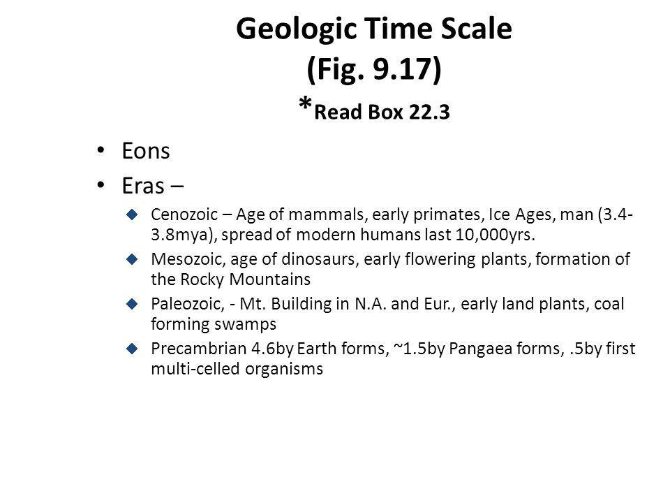 Geologic Time Scale (Fig. 9.17) * Read Box 22.3 Eons Eras – Cenozoic – Age of mammals, early primates, Ice Ages, man (3.4- 3.8mya), spread of modern h