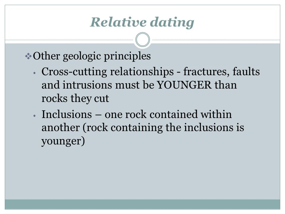 Cross-cutting Relationships fractures, faults and intrusions must be YOUNGER than rocks they cut