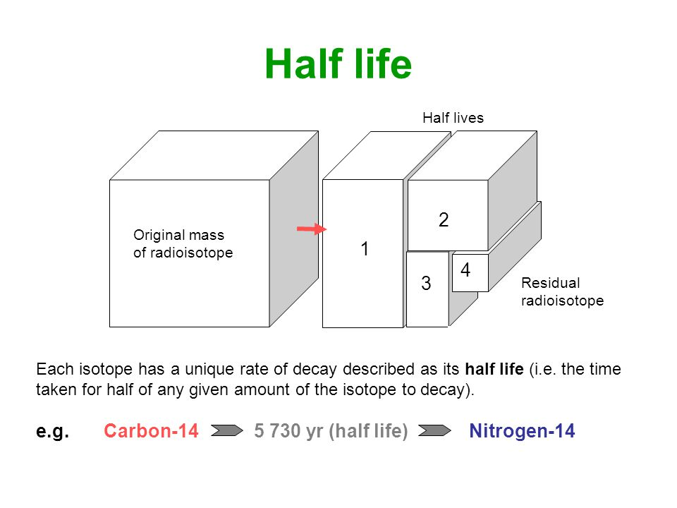 Half life Each isotope has a unique rate of decay described as its half life (i.e.