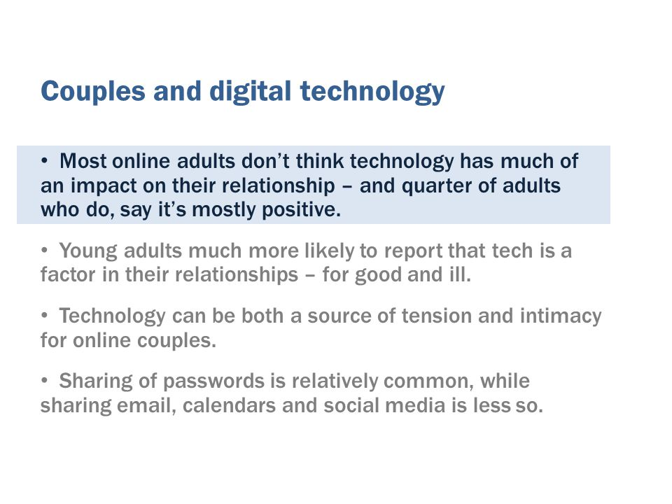Most online adults dont think technology has much of an impact on their relationship – and quarter of adults who do, say its mostly positive.