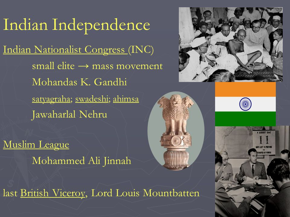 Indian Independence Indian Nationalist Congress (INC) small elite mass movement Mohandas K.