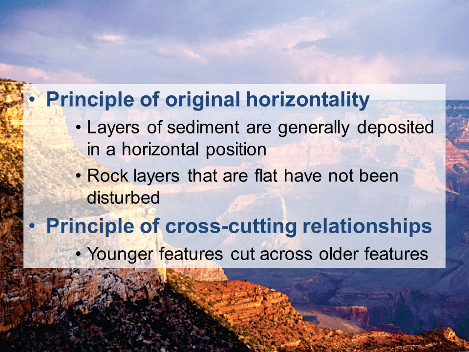 © 2011 Pearson Education, Inc. Principle of original horizontality Layers of sediment are generally deposited in a horizontal position Rock layers tha
