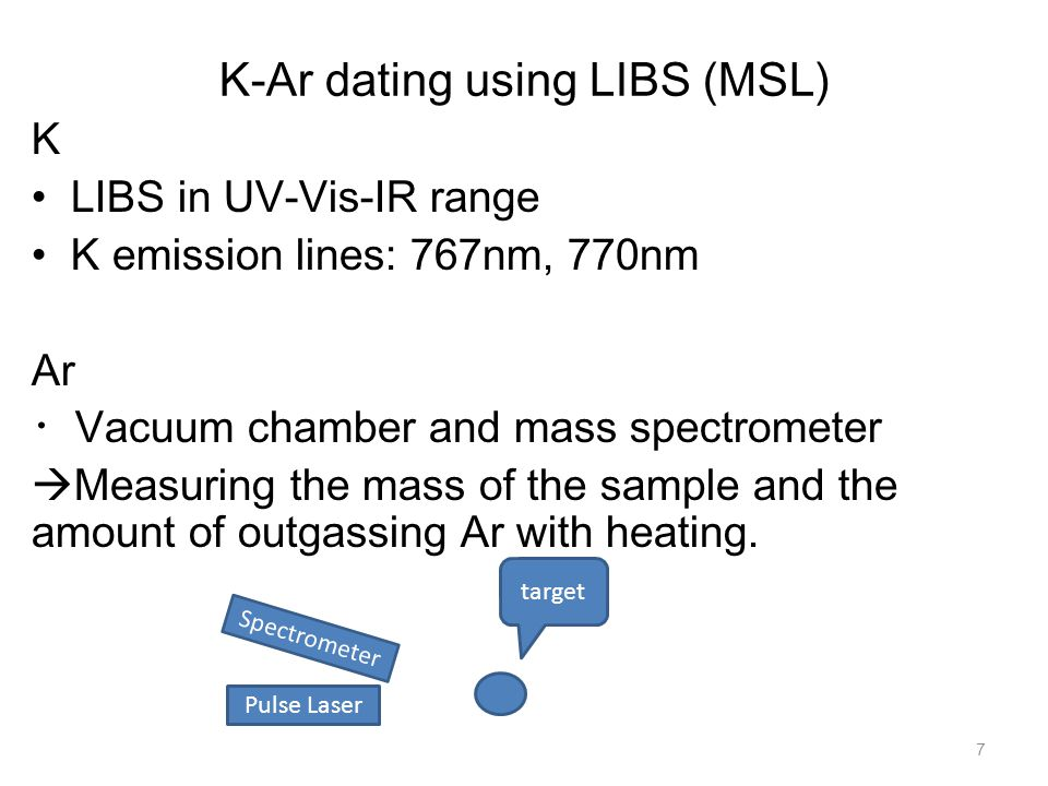 K-Ar dating using LIBS (MSL) 8 K LIBS in UV-Vis-IR range K emission lines: 767nm, 770nm Ar Vacuum chamber, mass spectrometer,… Measuring the mass of the sample and the amount of outgassing Ar with heating.