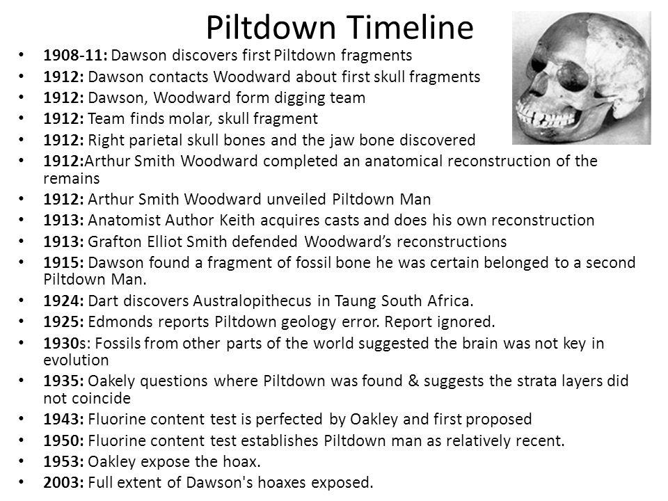 Piltdown Timeline 1908-11: Dawson discovers first Piltdown fragments 1912: Dawson contacts Woodward about first skull fragments 1912: Dawson, Woodward