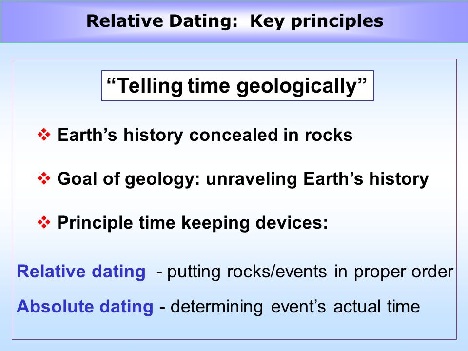 Telling time geologically v Earths history concealed in rocks v Goal of geology: unraveling Earths history v Principle time keeping devices: Relative dating - putting rocks/events in proper order Absolute dating - determining events actual time Relative Dating: Key principles