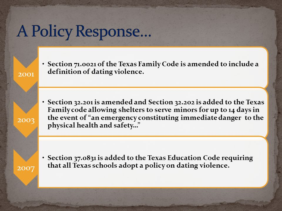 2001 Section 71.0021 of the Texas Family Code is amended to include a definition of dating violence. 2003 Section 32.201 is amended and Section 32.202