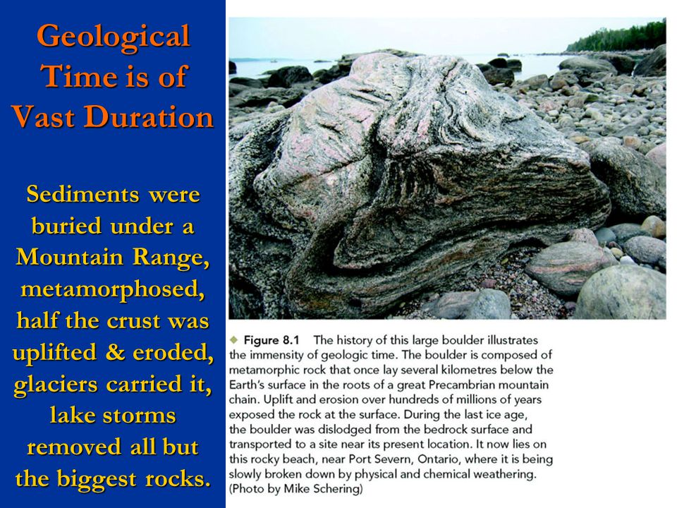 Geological Time is of Vast Duration Sediments were buried under a Mountain Range, metamorphosed, half the crust was uplifted & eroded, glaciers carried it, lake storms removed all but the biggest rocks.
