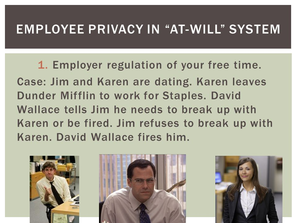 1.Employer regulation of your free time.Can David fire Jim for dating Karen.