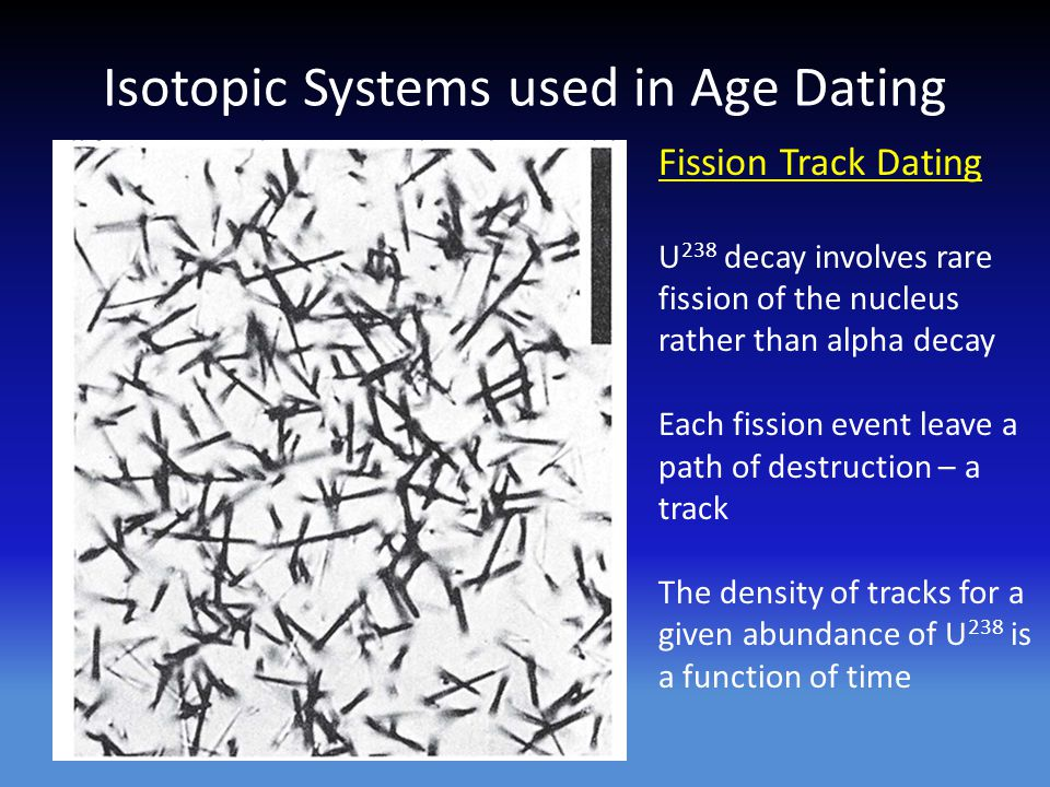 Isotopic Systems used in Age Dating Fission Track Dating U 238 decay involves rare fission of the nucleus rather than alpha decay Each fission event leave a path of destruction – a track The density of tracks for a given abundance of U 238 is a function of time
