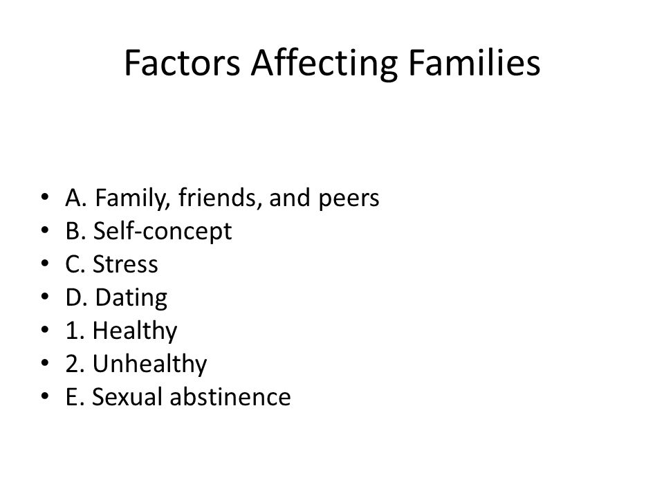 Factors Affecting Families A. Family, friends, and peers B. Self-concept C. Stress D. Dating 1. Healthy 2. Unhealthy E. Sexual abstinence