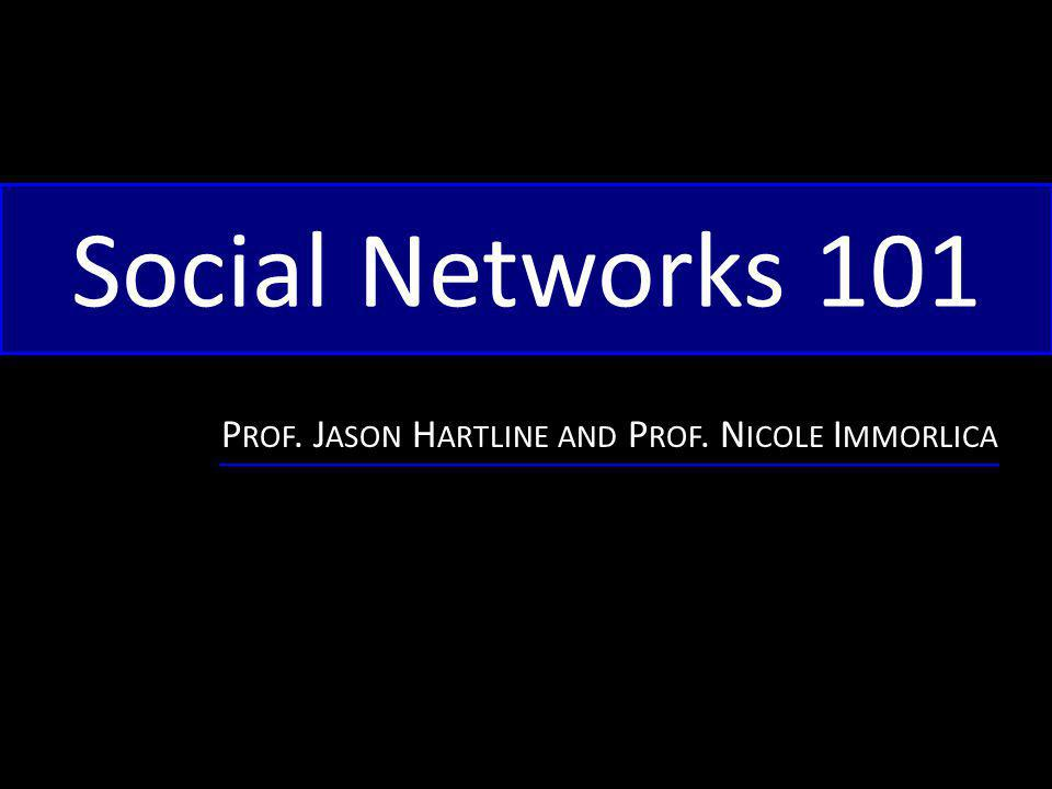 Social Networks 101 P ROF. J ASON H ARTLINE AND P ROF. N ICOLE I MMORLICA