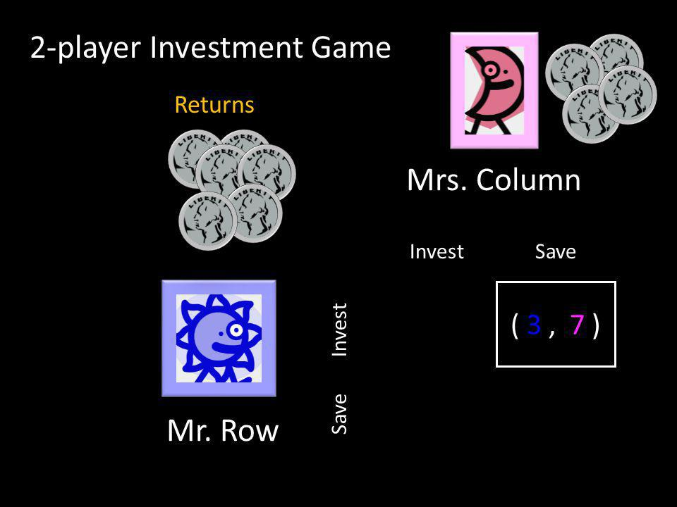( , ) InvestSave Invest 2-player Investment Game Mr. Row Mrs. Column Returns ( 3, 7 )