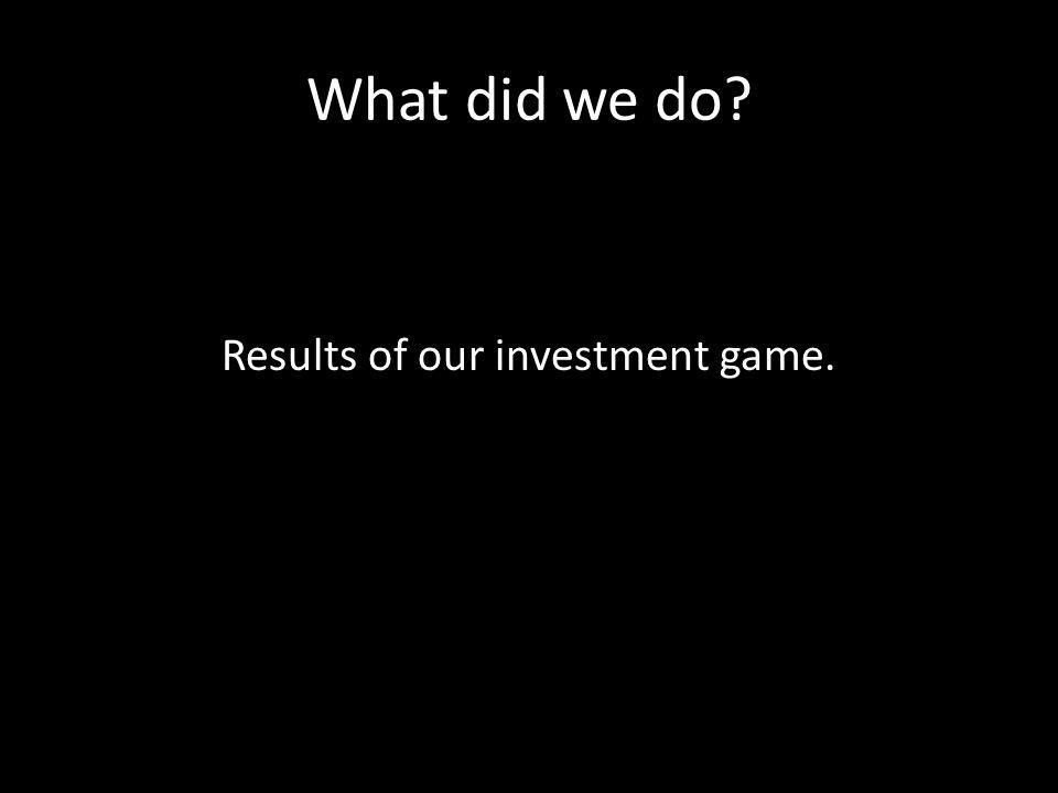 What did we do Results of our investment game.