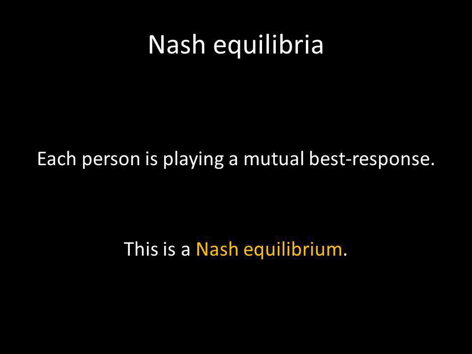 Nash equilibria Each person is playing a mutual best-response. This is a Nash equilibrium.