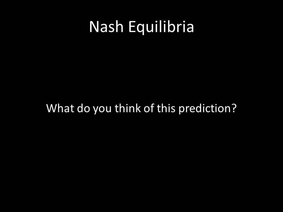 Nash Equilibria What do you think of this prediction