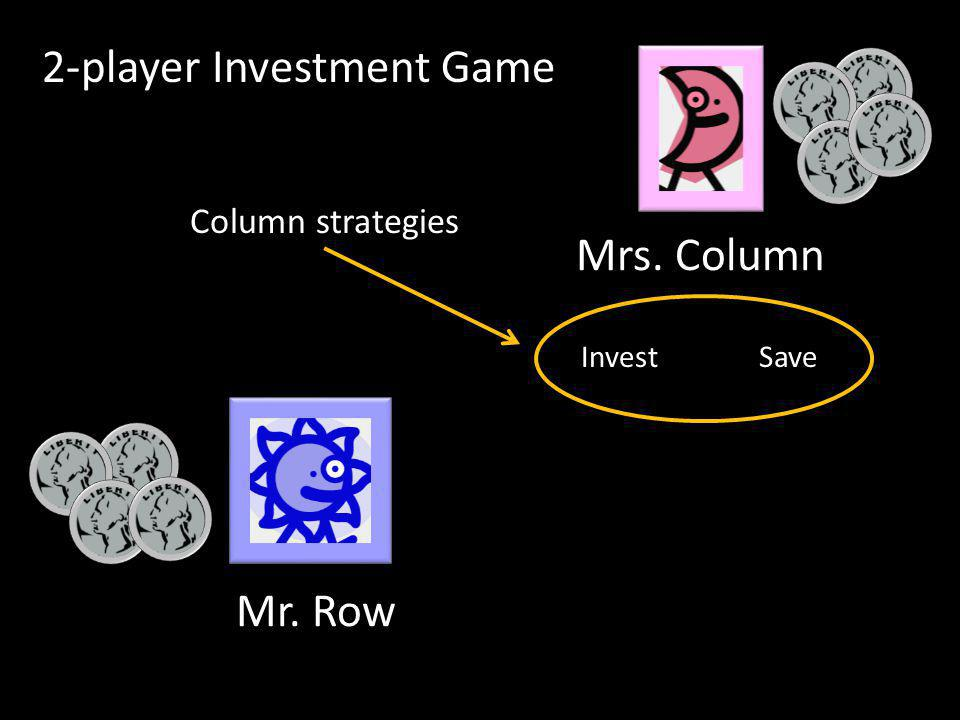 Mr. Row Mrs. Column InvestSave Column strategies 2-player Investment Game