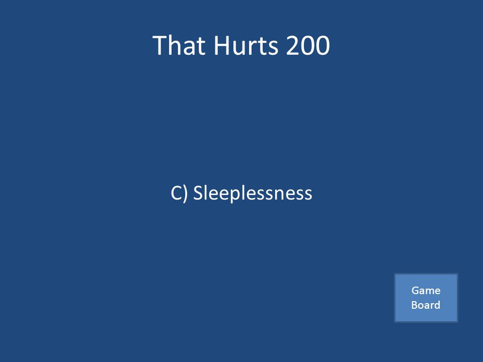 That Hurts 200 A victims common result from being in a harmful relationship A) Inappropriate laughter B) Lower back pain C) Sleeplessness Answer