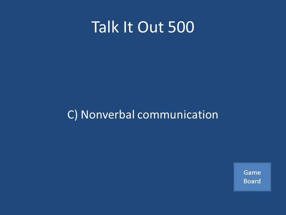 Talk It Out 500 Which of the following happens on an unconscious level A) Written communication B) Effective listening C) Nonverbal communication Answer