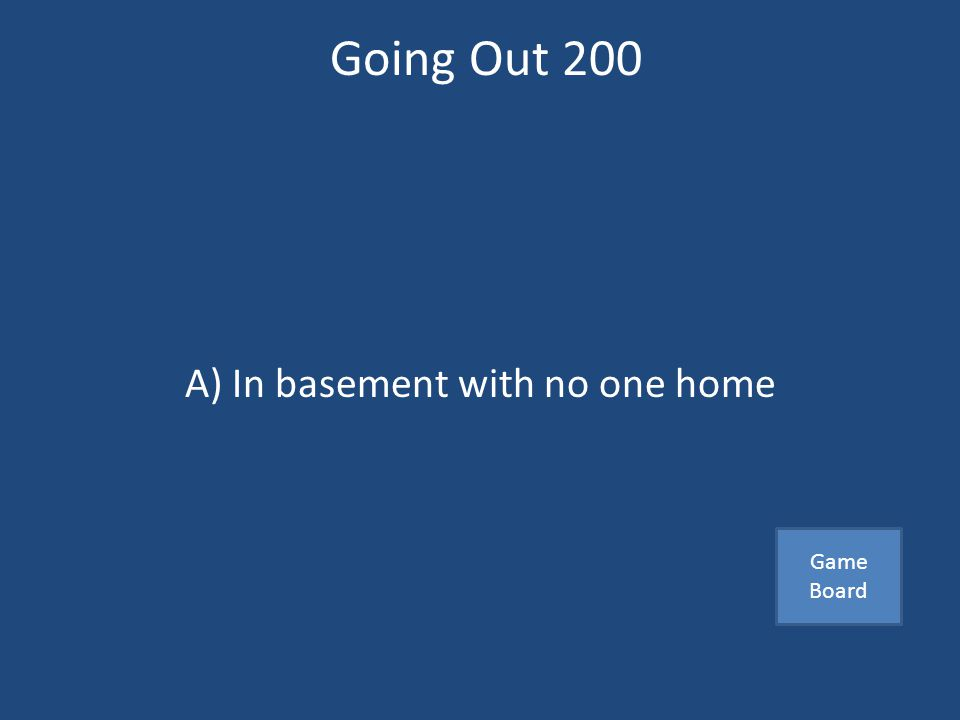 Going Out 200 Not a safe first date A)In basement with no one home B)Sporting event C)Dinner with friends Answer