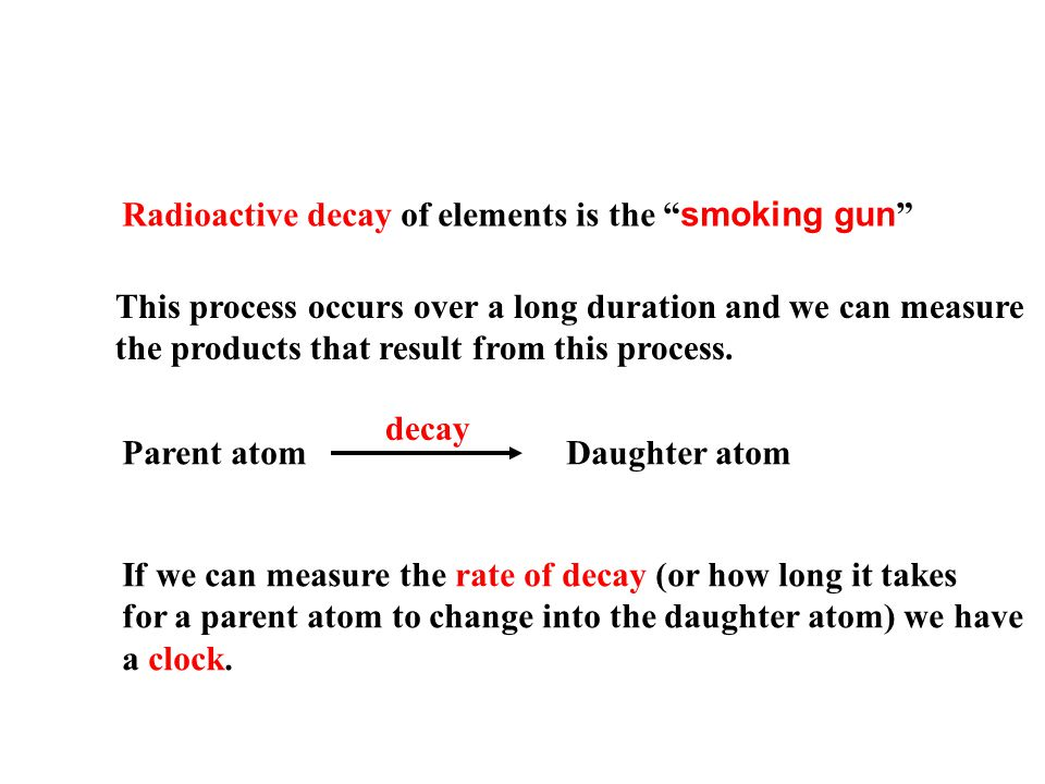 Radioactive decay of elements is the smoking gun This process occurs over a long duration and we can measure the products that result from this process.