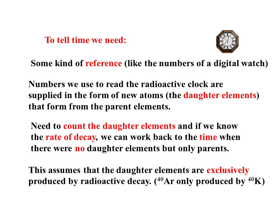 To tell time we need: Some kind of reference (like the numbers of a digital watch) Numbers we use to read the radioactive clock are supplied in the form of new atoms (the daughter elements) that form from the parent elements.