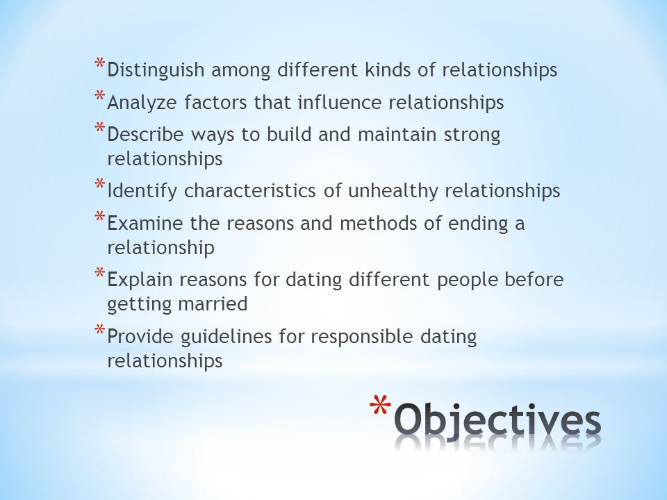 * A relationship is the connection you have with another person * Relationships vary in three basic ways: * Their degree of closeness * Their purpose * Their form * Relationships can also be described as close or casual