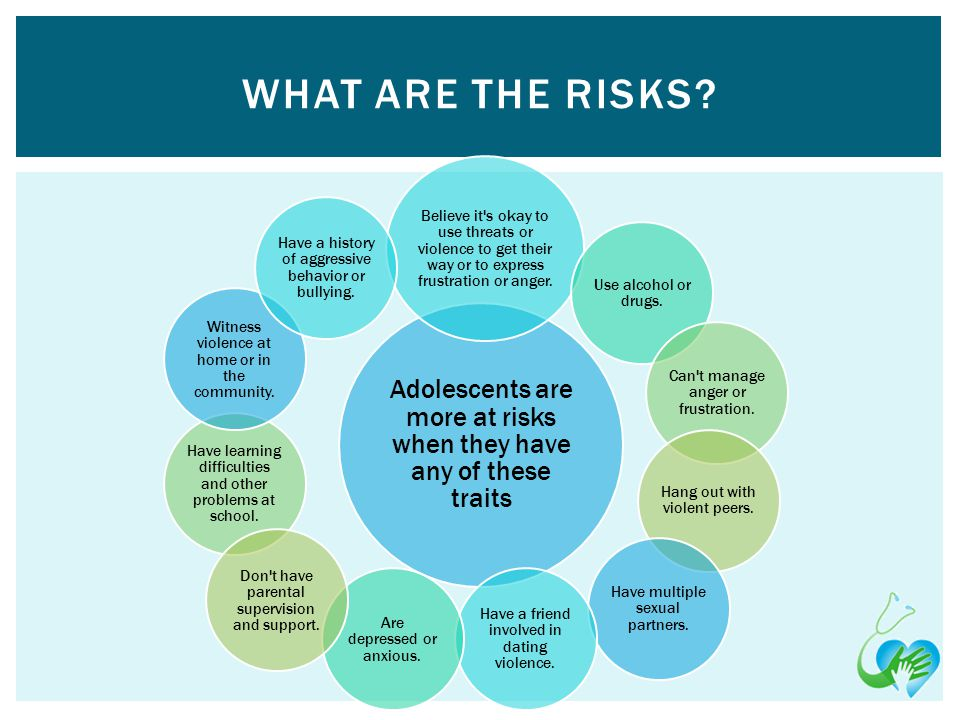 Adolescents are more at risks when they have any of these traits Believe it s okay to use threats or violence to get their way or to express frustration or anger.